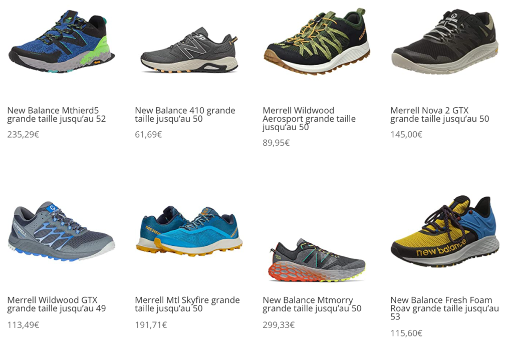 chaussures de trail grandes tailles